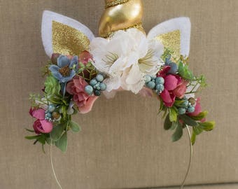 Unicorn Headband with Glitter Ears, Gold Horn and Pink, Vintage Blue, Mauve flowers and Greenery - Birthday Party or Photos - Photoshoot