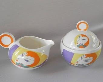 Larry Laslo Visage Pattern Cream and Sugar. Sango China, 1986. Modernist Female Image.