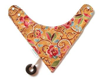 Baby Bandana Bib With an Attached Food Safe  Silicone Teether Floral Print Reversible  Minky Lined