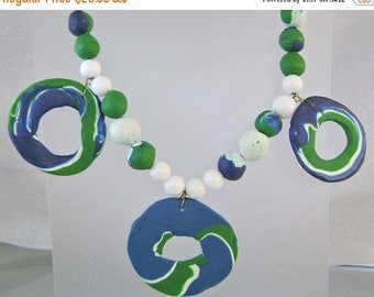 SALE Vintage 1970s Blue Green White Clay Necklace.  Retro Blue Green Glass Clay Necklace