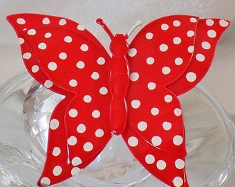 SALE Vintage Red Polka Dot Butterfly Brooch.  1960s Red and White Polka Dot Enamel Butterfly Pin.