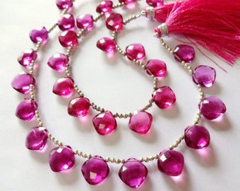 8% off SHOP-WIDE, Candy PINK Hydro Quartz Faceted Cushion Briolettes Trio, (1) Matched Pair plus (1) Focal, 12mm