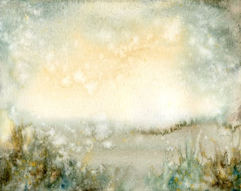Landscape Original watercolor painting 10x8inch