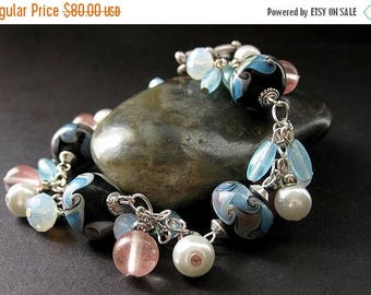SUMMER SALE Lampwork Charm Bracelet in Baby Blue, Pink Cherry Quartz and Pearl. Handmade Jewelry.