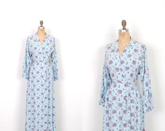 MEMORIAL WEEKEND SALE... Vintage 1940s Dress / 40s Floral Cotton Maxi Dressing Gown / Blue and Purple (small S)