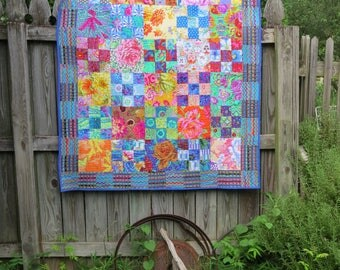Kaffe Fassett Collective Lap or Sofa Quilt inspired by Rosy Quilt Pattern
