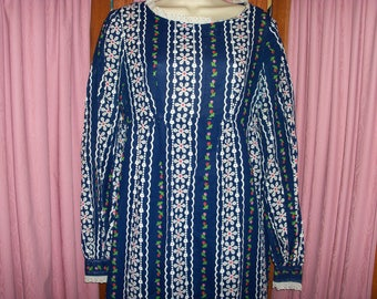 Size M Vintage Navy Blue Floral Print Maxi Dress with Long Sleeves