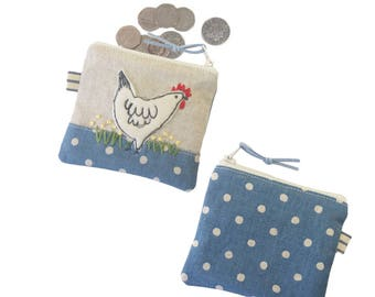 Chicken Coin Purse, Personalised Gift, Hen Lover Gift, Small Money Purse, Custom Children's Gift, Change Pouch