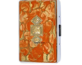Art Deco Metal Cigarette Case Inlaid in Hand Painted Enamel Orange and Gold Quartz Inspired Metal Wallet with Color and Personalized Options