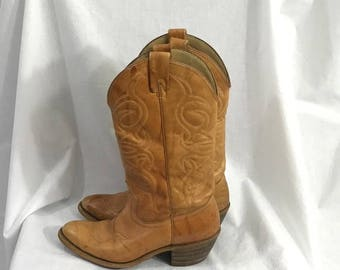 Vintage Brown Leather Cowboy Boots 6 1/2