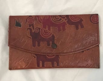 Vintage 80s Leather Elephant Tooled Indian Ethnic Tribal Wallet Clutch
