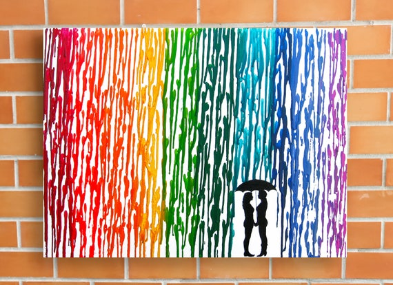 Wedding Gift Paintings: Lesbian Wedding Gift Lesbian Art Rainbow Raindrops Melted