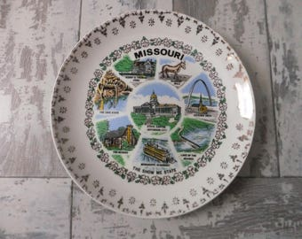 Vintage Missouri Souvenir State Plate Small Gold Filigree Border Decorative Collector Travel Vacation Retro Wall Decor 7.25""