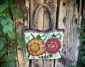 Vintage Guatemalan purse floral beaded fabric shoulder bag ethnic purse bohemian tote