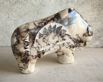 Horse Hair Pottery by Navajo Tom Vail Native American Indian Pottery Southwestern Decor, Living Room Decor, New Mexico Gifts, Buffalo Art