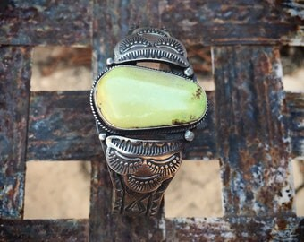 Signed Navajo Virgil Begay Turquoise Cuff Bracelet, Native American Indian Jewelry