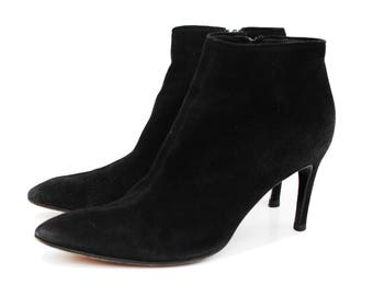 Yves Saint Laurent YSL Black Suede Leather Bootie Ankle Boots Sz 9 Made in Italy Classic