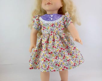 18 inch Doll Dress Fits American Girl Doll  Floral Dress with Purple Yoke