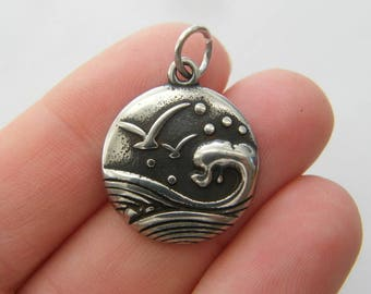 1 Wave sea seagull charm dark silver tone SC88