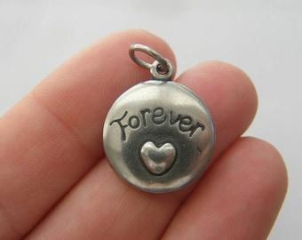 BULK 5 Forever friends charms dark silver tone M427