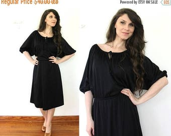 ON SALE Black 70s Dress / 1970s Black Disco Dress
