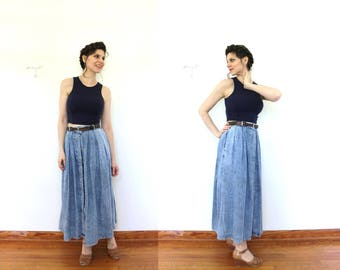 Acid Wash Denim Skirt / 1980s Skirt / 1990s High Waisted Denim Acid Wash Full Midi Skirt