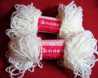 2 Unger Acrylic Frou Frou Yarn White Unger Acrylic Yarn New Vintage Stock Made In Holland