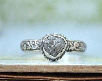 sterling silver rough diamond ring, stack ring, light gray round rough diamond,  rough stone diamond ring, handmade diamond ring
