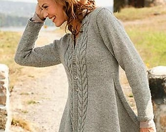 Knitting Pattern Asymetrical Jacket - Ladies Longline Cardigan Sweater Small to XXXL