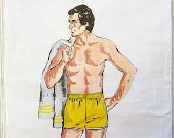 Men's swimuit pattern, retro bathing suit, swim shorts, athletic beach wear, uncut vintage sewing pattern, Kwik Sew 814, waist 30, 32, 34
