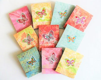 10 Handmade butterfly notepads, matchbook childs party favor, promotional item, mini stationary, cute thank you gift, cupcake face notebooks