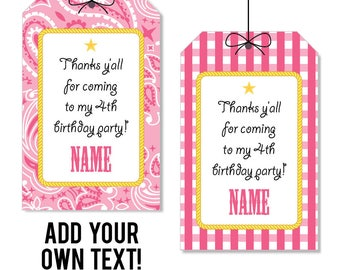 INSTANT DOWNLOAD Pink Country Western Party Favor Tags - Cowgirl Party Favor Tags - EDITABLE printable birthday party favor tags