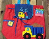 Dump truck Stephen Joseph quilted backpack/personalized backpack/monogrammed backpack/diaper bag/baby shower gift