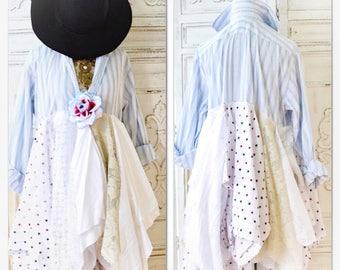 Sale Americana Boho Duster dress, Menswear duster kimono, Country chic dress duster, bohemian menswear style, Blue white True rebel clothing