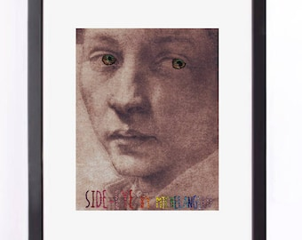 """Art Print of Michelangelo Sketch Embellished with Embroidery - """"Side Eye"""""""