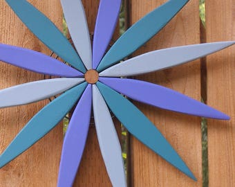 Colorful Blue Starburst Wreath Wall Art - Garden Art - Wreath - Outdoor Decor handcrafted by Laughing Creek