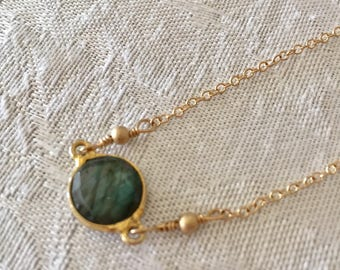Labradorite Necklace with 14k gold filled chain - Small charm necklace - simple necklace - Gemstone circle pendant