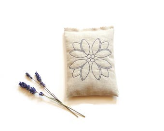 Lavender sachet, embroidered flower, organic lavender, aromatherapy, lavender pillow, scented sachet, drawer freshener, gift for grandma