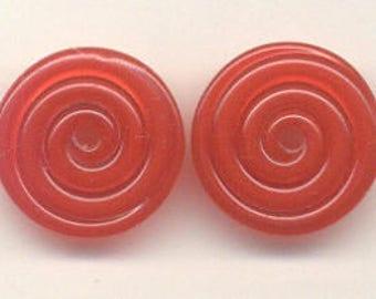 17mm range, Tom's lampwork transparent bing red 2 disc spacer/drops set, 1 pair 96093-1