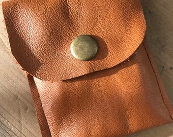 Repurposed Tan Leather Earbud Pouch Coin Purse with Snap Closure