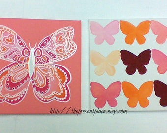 butterfly paintings,nursery paintings,coral,peach,taupe wall art,girls art, butterflies,girls wall art,room decor,butterfly wall art,orange