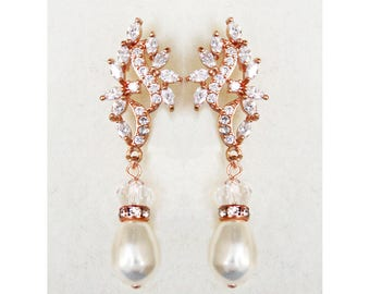 Rose Gold Bridal Earrings Wedding Cubic Zirconia  Tear Drops Pearl Bridal Jewelry Rose Gold Crystal Wedding Earrings- Nevaeh Earrings
