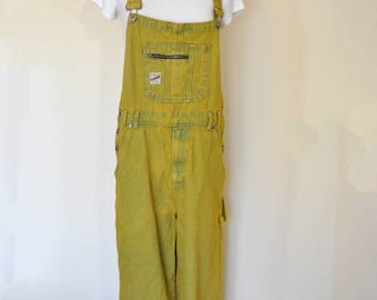 Gold Mens Medium Bib OVERALLS Pants - Yellow Dyed Upcycled Faded Glory Cotton Denim Overalls - Adult Women Mens Medium (38 W x 30L)