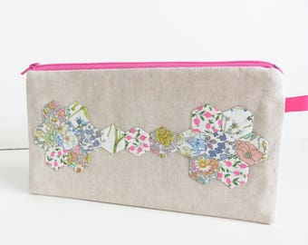 Liberty Lawn Tiny Hexie Applique Pencil Case