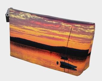 Lone Boats River Sunset Make Up Bag