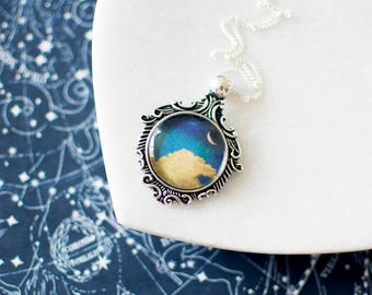 Crescent Moon Necklace. Crescent Necklace. Moon Pendant. Moon Jewelry. Yellow Moon Necklace. Antique Silver Necklace. Glass Dome Pendant.