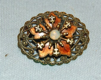 Antique Victorian Brooch / Moonstone / Enamel / C Clasp / old / jewelry