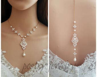 Rose Gold Backdrop Necklace, Wedding Back Necklace, Crystal Backdrop Necklace, Swarovski Pearls, Gold, Bridal Necklace, Maya