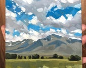 California Mountain Landscape - Original Mammoth Lakes Landscape Painting by Sharon Schock 6x6