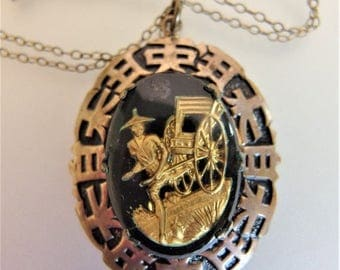 ON SALE Beautiful Vintage Asian Glass Pendant Necklace